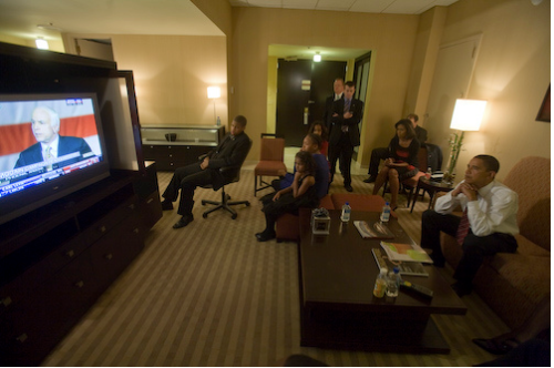 Obama watches McCain's concession speech