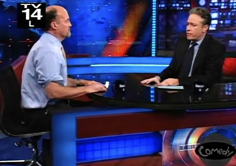 Jim Cramer and Jon Stewart in discussion on the Daily Show