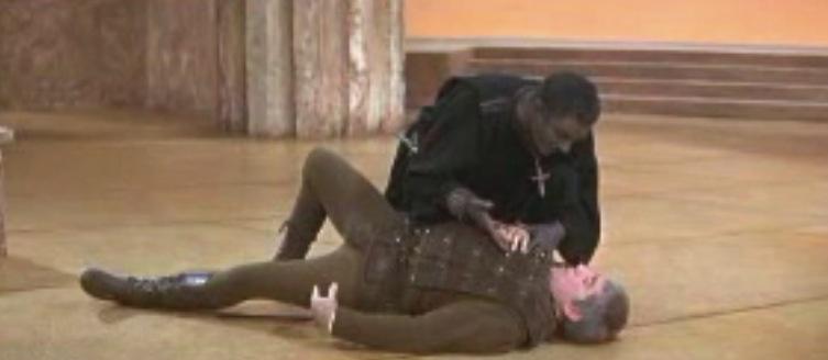 Olivier's Othello seeks ocular proof from Iago for Desdimona's infidelity