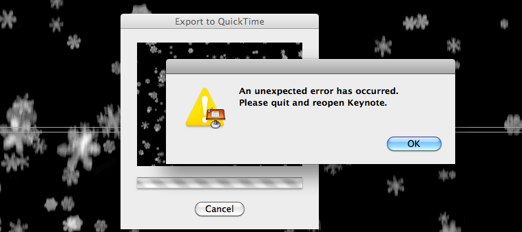 ... as Keynote fell over everytime I tried to export it to Quicktime, below.