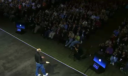 Steve Jobs delivering a keynote and his confidence monitors below stage in presenter mode