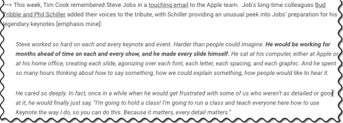 Jean-Louis Gassee's blog quoting Phil Schiller on Steve Jobs keynote preparation