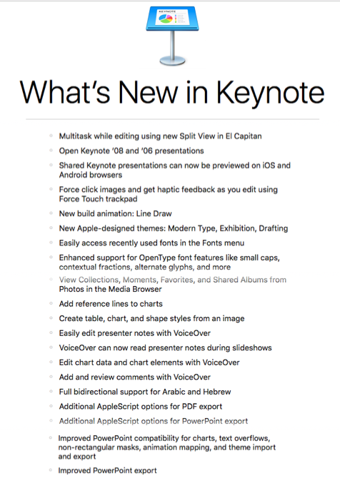 New features in Keynote 6.6